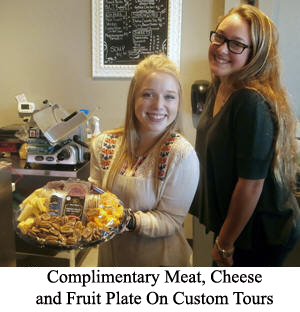 Complimentary meat, cheeze, and fuit plate offered by Open Range Wine Tours.